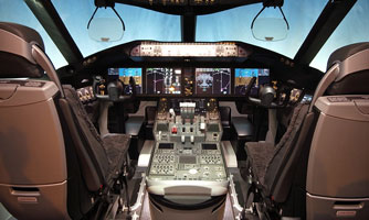 Jetliner cockpit with hi-rel electronic design